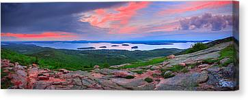 Sunrise At  Cadillac Pano  Canvas Print