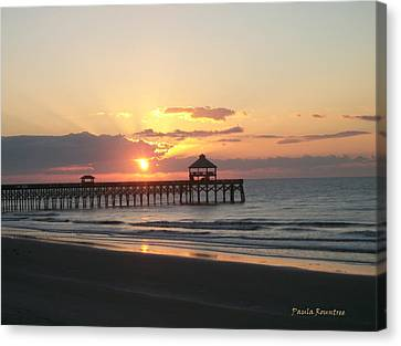 Sunrise At Folly Beach Canvas Print by Paula Rountree Bischoff