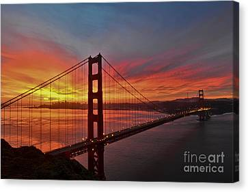 Sunrise Over The Golden Gate Bridge  Canvas Print by Peter Dang