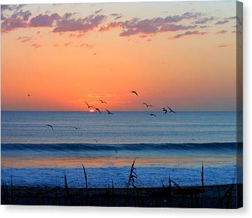 Canvas Print featuring the photograph Sunrise At Indialantic by Kay Gilley