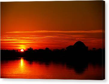 Sunrise At Jefferson Memorial Canvas Print by Metro DC Photography