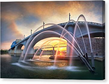 Sunrise At John Ross Landing Fountain Canvas Print by Steven Llorca