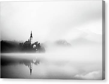 Misty Canvas Print - Sunrise At Lake Bled by Lubos Balazovic
