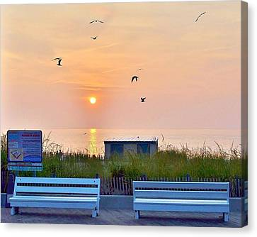 Sunrise At Rehoboth Beach Boardwalk Canvas Print