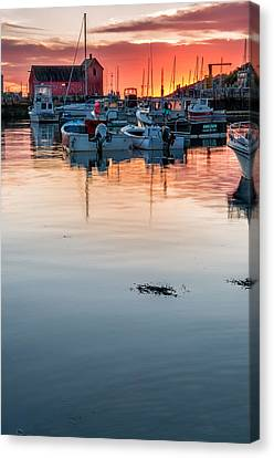 Sunrise At Rockport Harbor - Cape Ann Canvas Print by Thomas Schoeller