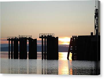Canvas Print featuring the photograph Southworth Ferry Pilling At Dawn by E Faithe Lester
