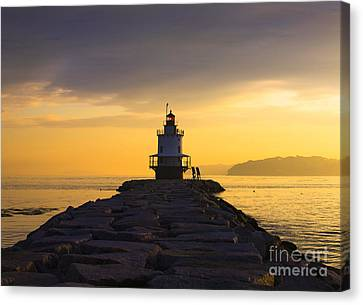 Sunrise At Spring Point Lighthouse Canvas Print by Diane Diederich