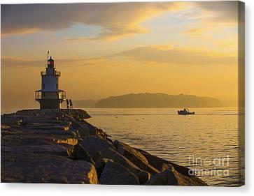 Sunrise At Spring Point Portland Maine Canvas Print by Diane Diederich