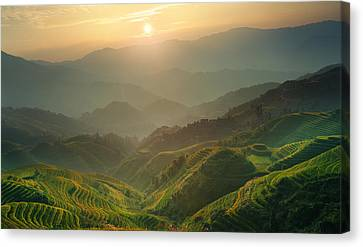 Sunrise At Terrace In Guangxi China 7 Canvas Print