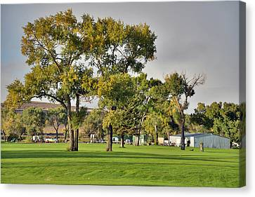 Sunrise At The Greenskeeper Garage Canvas Print by Eric Nielsen