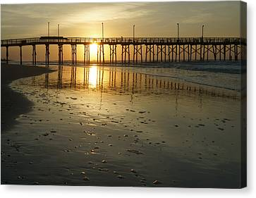 Sunrise At The Jolly Roger Pier Canvas Print by Mike McGlothlen