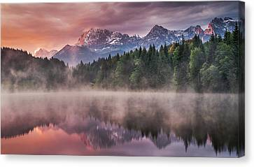 Sunrise At The Lake Canvas Print by Andreas Wonisch