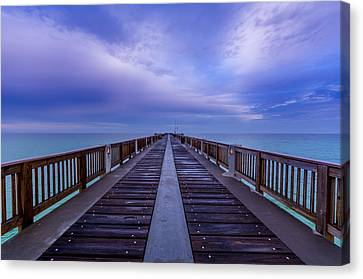 Sunrise At The Panama City Beach Pier Canvas Print by David Morefield
