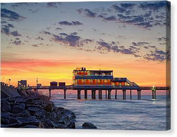 Sunrise At The Pier - Galveston Texas Gulf Coast Canvas Print