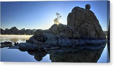 Sunrise At Watson Lake Canvas Print by Dan Myers