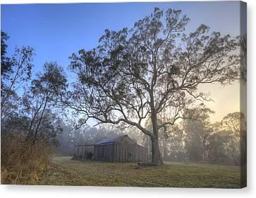 Sunrise Barn Canvas Print by Steve Caldwell