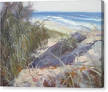 Canvas Print featuring the painting Sunrise Beach Dunes Sunshine Coast Qld Australia by Chris Hobel