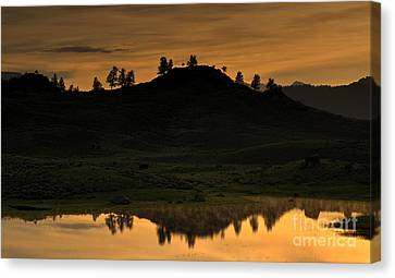 Canvas Print featuring the photograph Sunrise Behind A Yellowstone Ridge by Bill Gabbert