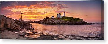 Nubble Lighthouse Canvas Print - Sunrise Behind Cape Neddick  by Scott Lynde