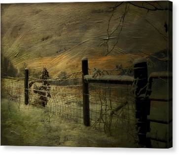 Sunrise Behind The Fence Canvas Print by Kathy Jennings