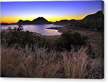 Canvas Print featuring the photograph Sunrise Behind The Quartz Mountains - Oklahoma - Lake Altus by Jason Politte