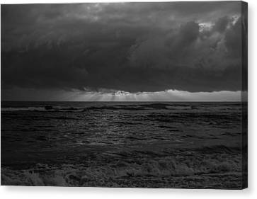 Sunrise Black And White Canvas Print