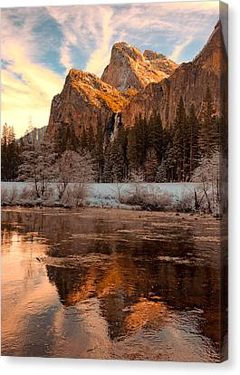 Sunrise Bridal Veil Fall And Cathedral Rocks Canvas Print by Troy Montemayor