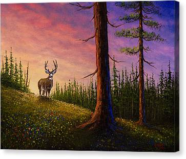 Bob Ross Canvas Print - Sunrise Buck by Chris Steele