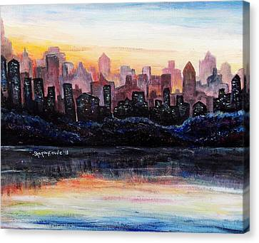 Canvas Print featuring the painting Sunrise City by Shana Rowe Jackson