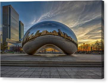 Canvas Print featuring the photograph Sunrise Cloud Gate by Sebastian Musial