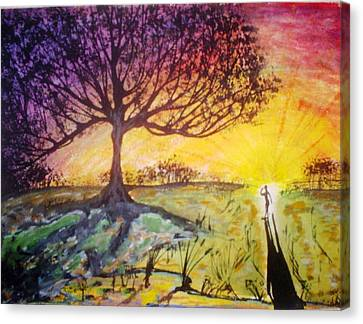 Canvas Print featuring the painting Sunrise by Douglas Beatenhead