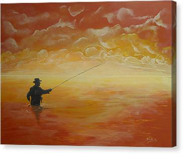 Sunrise Fishing Canvas Print by Donna Blackhall