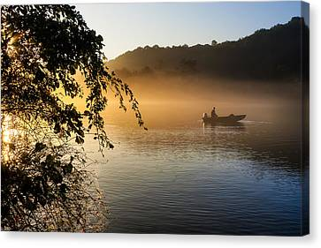 Sunrise Fishing On The Chattahoochee Canvas Print by Mark E Tisdale