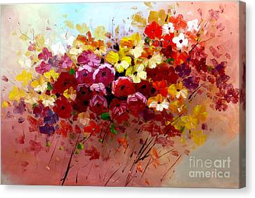 Sunrise Flowers - Abstract Oil Painting Original Modern Contemporary Art House Wall Deco Canvas Print by Emma Lambert