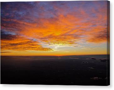 Sunrise From The Airplane Canvas Print by Jennifer Lamanca Kaufman