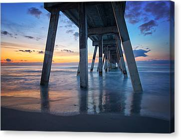 Sunrise From Under Johnnie Mercer's Pier Wrightsville Beach Nc Canvas Print