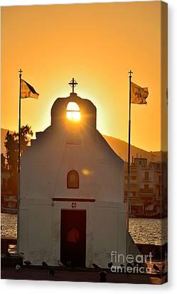 Sunrise In Aegina Port Canvas Print by George Atsametakis