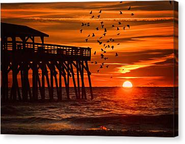 Sunrise In Myrtle Beach With Birds Flying Around The Pier Canvas Print