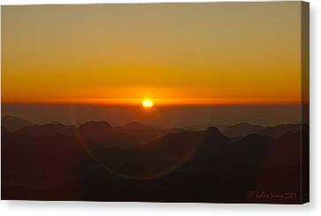 Canvas Print featuring the pyrography Sunrise In Sinai Mountains by Julis Simo