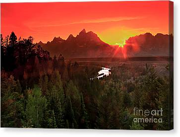Sunrise In The Tetons Canvas Print by Robert Bales