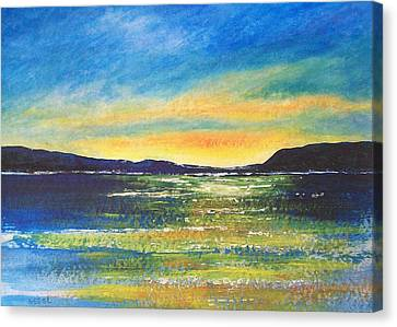 Canvas Print featuring the painting Sunrise by Jane  See