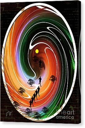 Canvas Print featuring the digital art Sunrise Joggers  by Ann Calvo