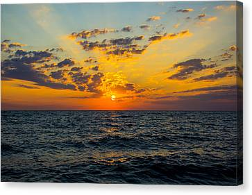 Canvas Print featuring the photograph Sunrise Lake Michigan August 10th 2013 001 by Michael  Bennett