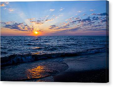 Canvas Print featuring the photograph Sunrise Lake Michigan August 10th 2013 002 by Michael  Bennett