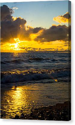 Canvas Print featuring the photograph Sunrise Lake Michigan August 30th 2013 001  by Michael  Bennett