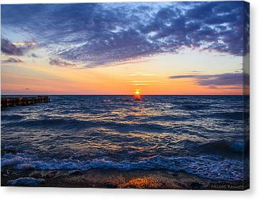 Canvas Print featuring the photograph Sunrise Lake Michigan August 8th 2013 001 by Michael  Bennett