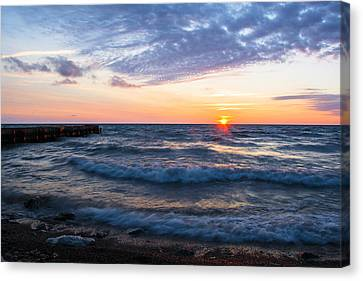 Canvas Print featuring the photograph Sunrise Lake Michigan August 8th 2013 003 by Michael  Bennett