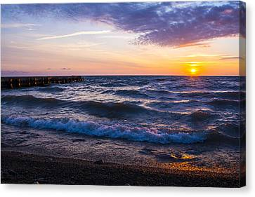 Canvas Print featuring the photograph Sunrise Lake Michigan August 8th 2013 004 by Michael  Bennett