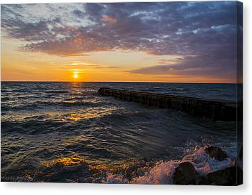 Canvas Print featuring the photograph Sunrise Lake Michigan August 8th 2013 005 by Michael  Bennett