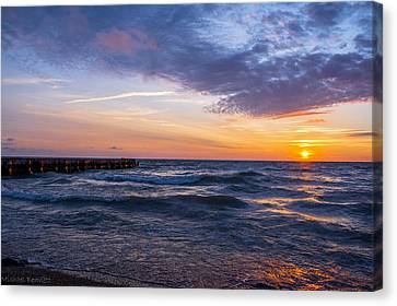 Canvas Print featuring the photograph Sunrise Lake Michigan August 8th 2013 007 by Michael  Bennett